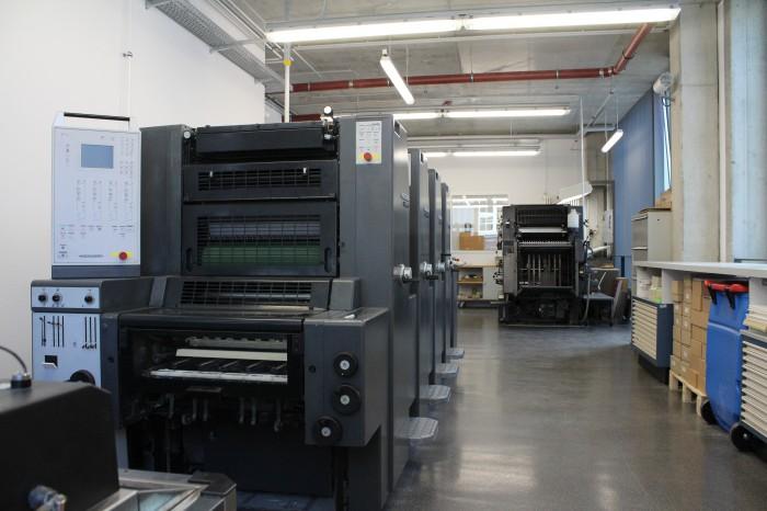 Maschinen in der Druckwerkstatt