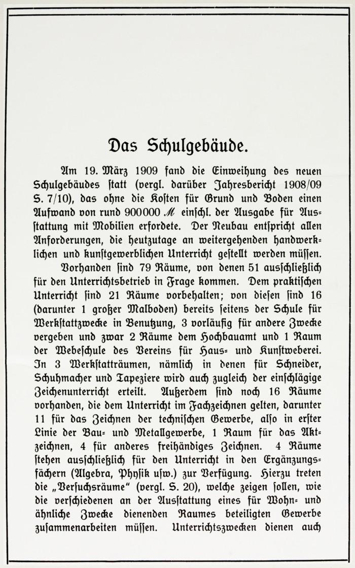 Artikel aus dem Jahresbericht 1909-1910 © Archiv MHK Kiel