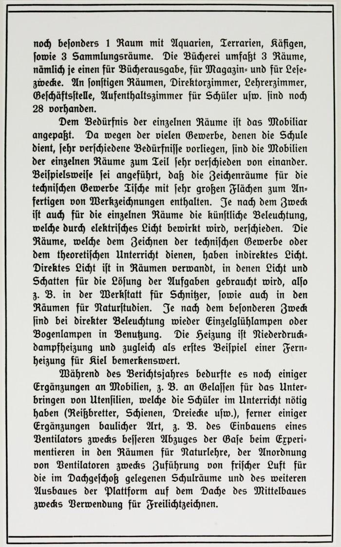 Forsetzung des Artikels aus dem Jahresbericht 1909-1910 © Archiv MKH Kiel